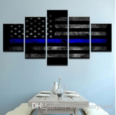 73d906e2808 2019 Wall Art Canvas Pictures 5 Panels Modern American Flag No Frame  Painting Canvas Art Wall Picture For Bed Room Unframed From Crazyfairyland