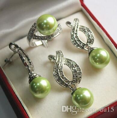Prett Lovely Wedding Wedding Green Shell Pearl Pendant Necklace Pendientes Anillo Set Bridal wide watch wing brinco