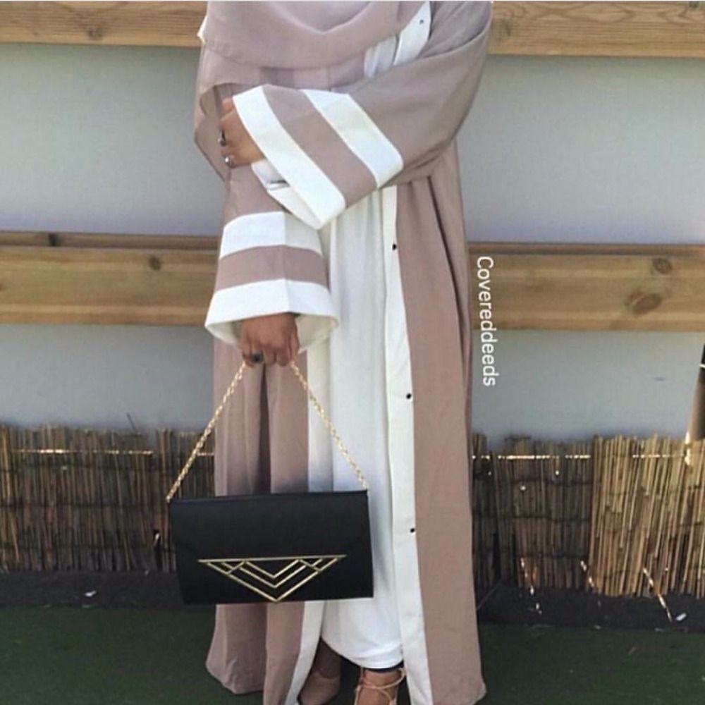 b9eb249e55f Acheter Robe Rayée Musulmane Abaya Tunique En Hijab Cardigan Robe Longue  Robe Kimono Jubah Ramadan ArabeTurkish Thobe Prière Islamique Vêtement De   40.58 Du ...