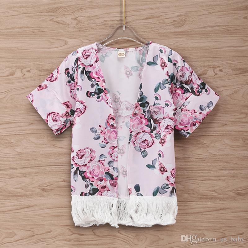 18ef572ab INS Baby Girl Cardigan Infant Flower Print Short Sleeve Coat With ...
