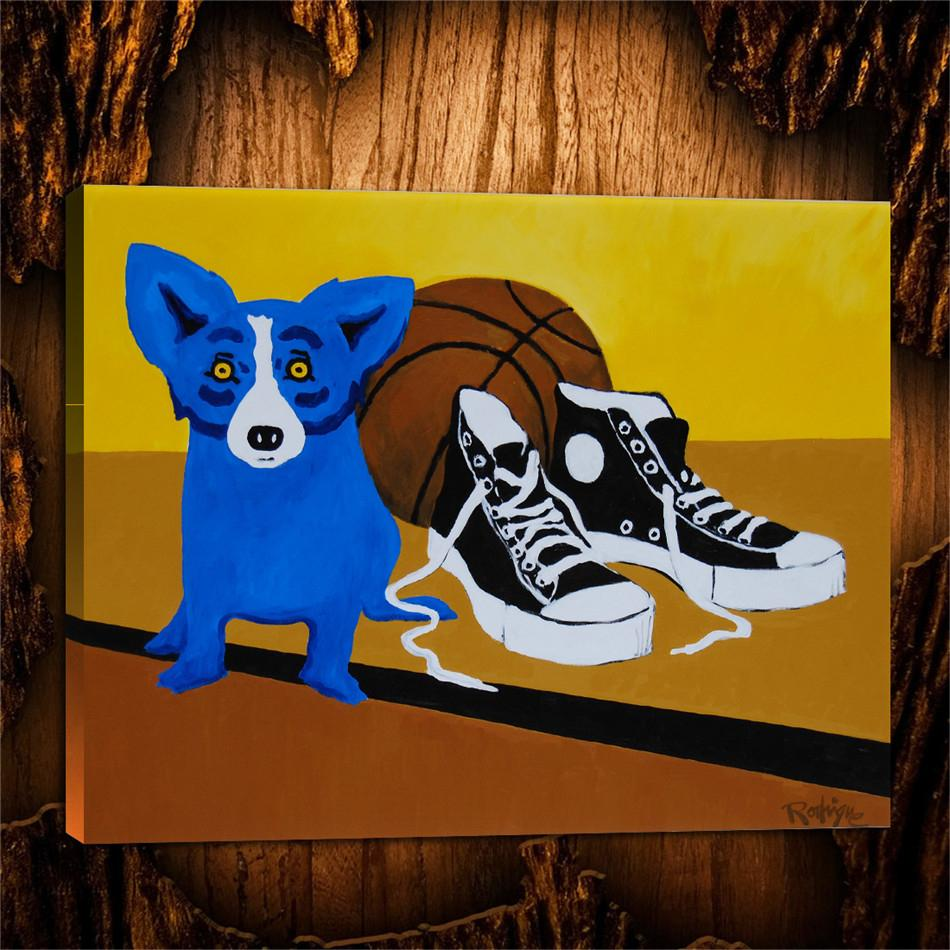 Blue Dog Two Shoes, 1 Pezzi Stampe su tela Wall Art Oil Painting Home Decor (senza cornice / con cornice) 24X32.