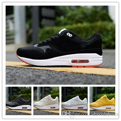 509815f21af Compre 2019 87 Tênis Sapatos De Grife Mens Air Maxes De Luxo De Couro Preto  Branco Mulheres Tênis Formadores Caminhadas Jogging Athletic Sports Shoes  De ...
