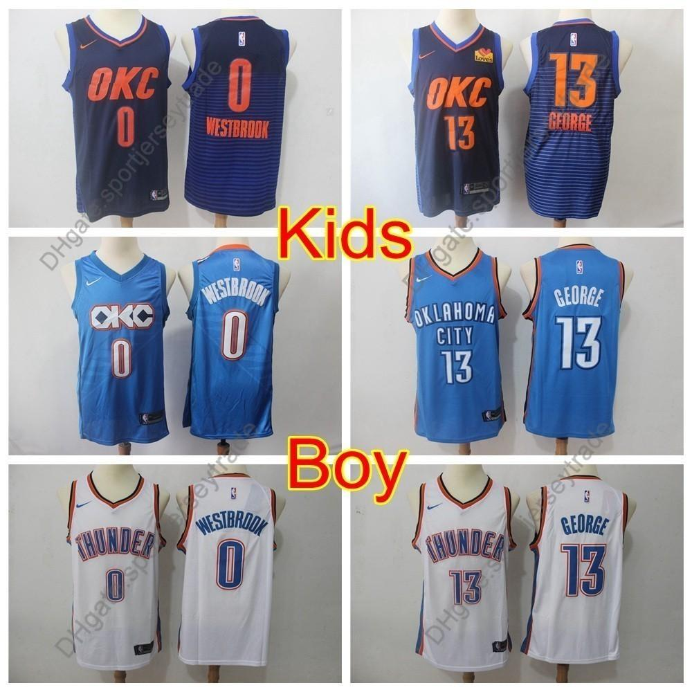 e084598c6 2019 2019 Kids #0 Oklahoma Russell Westbrook Paul George Thunder Basketball  Jerseys Youth Boys Russell Westbrook City Top Quality Stitched S XL From ...