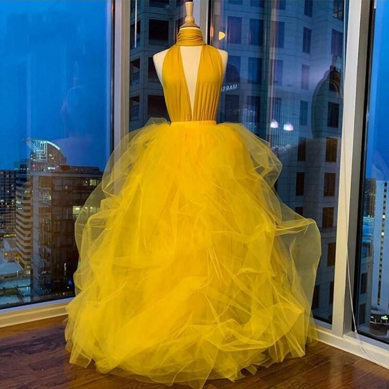 Yellow Sexy Halter Prom Dresses Plunging Neckline Tulle Cocktail Party Gowns Custom Made Backless Evening Dress robes de soirée