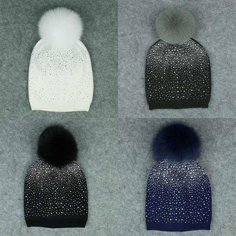 Women Winter Beanie Hat Rabbit Pure Wool Knitted Hat The Female Of The Mink  Pom Pom Shining Rhinestone Hats For Women Black Beanie Crochet Beanie From  ... e1c2751f895
