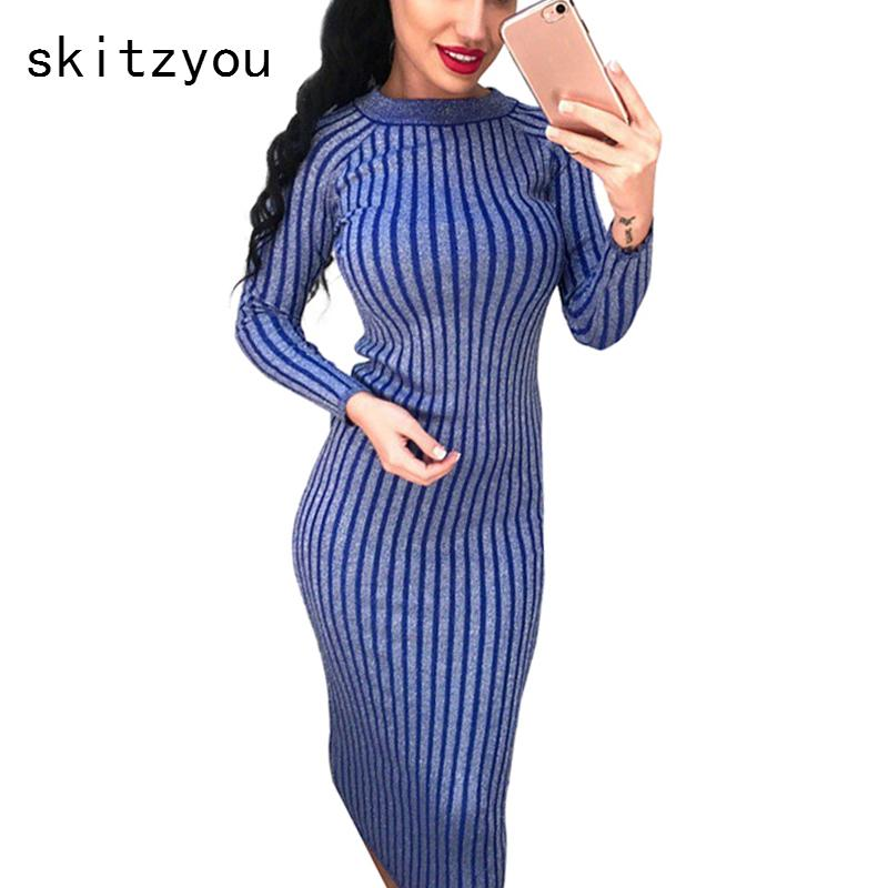 2019 Skitzyou Autumn Winter Women Knitted Long Sleeve Sweater Dress Elastic  Slim Sexy Bodycon Black O Neck Party Fit Dresses Vestidos Y190117 From  Shenyan01 ... 0d83232e274a