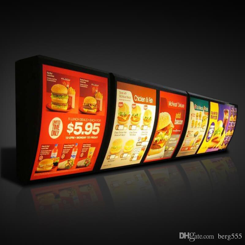 KFC Menu Board Light Box Fast Food Store Menu Display Wall Mount with  Protective Wooden Case Packing (W40 x H50 cm)