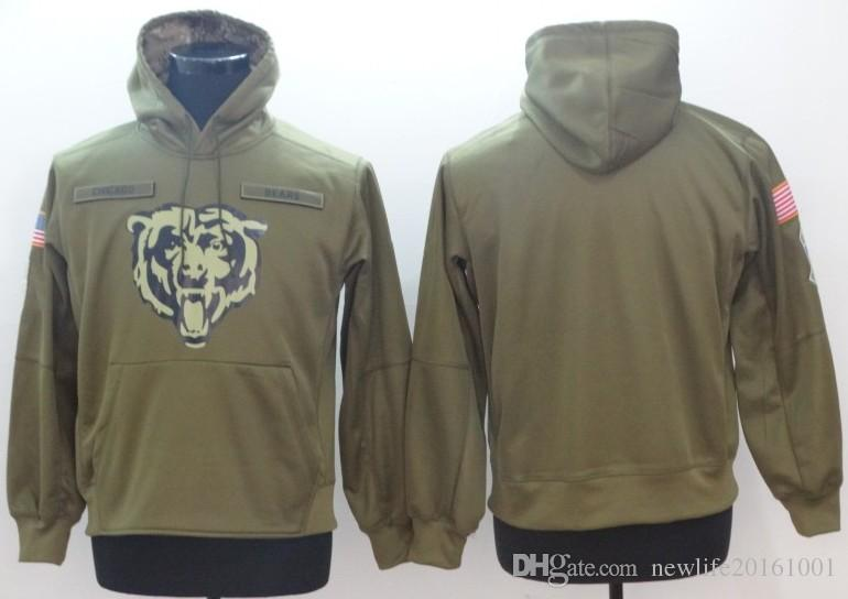 brand new 1b545 f9667 Chicago Hoodie Bears Sweatshirt 2018 Men s Olive Salute to Service Sideline  Therma Performance Pullover Hoodies