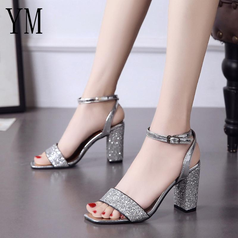 5b536636a04782 Bling Bling Ankle Strap Women Casual Sandals Open Toe Summer High Heel Shoes  Buckle Ladies Office Work Sandalias Shoes 35 39 Men Sandals Heeled Sandals  From ...