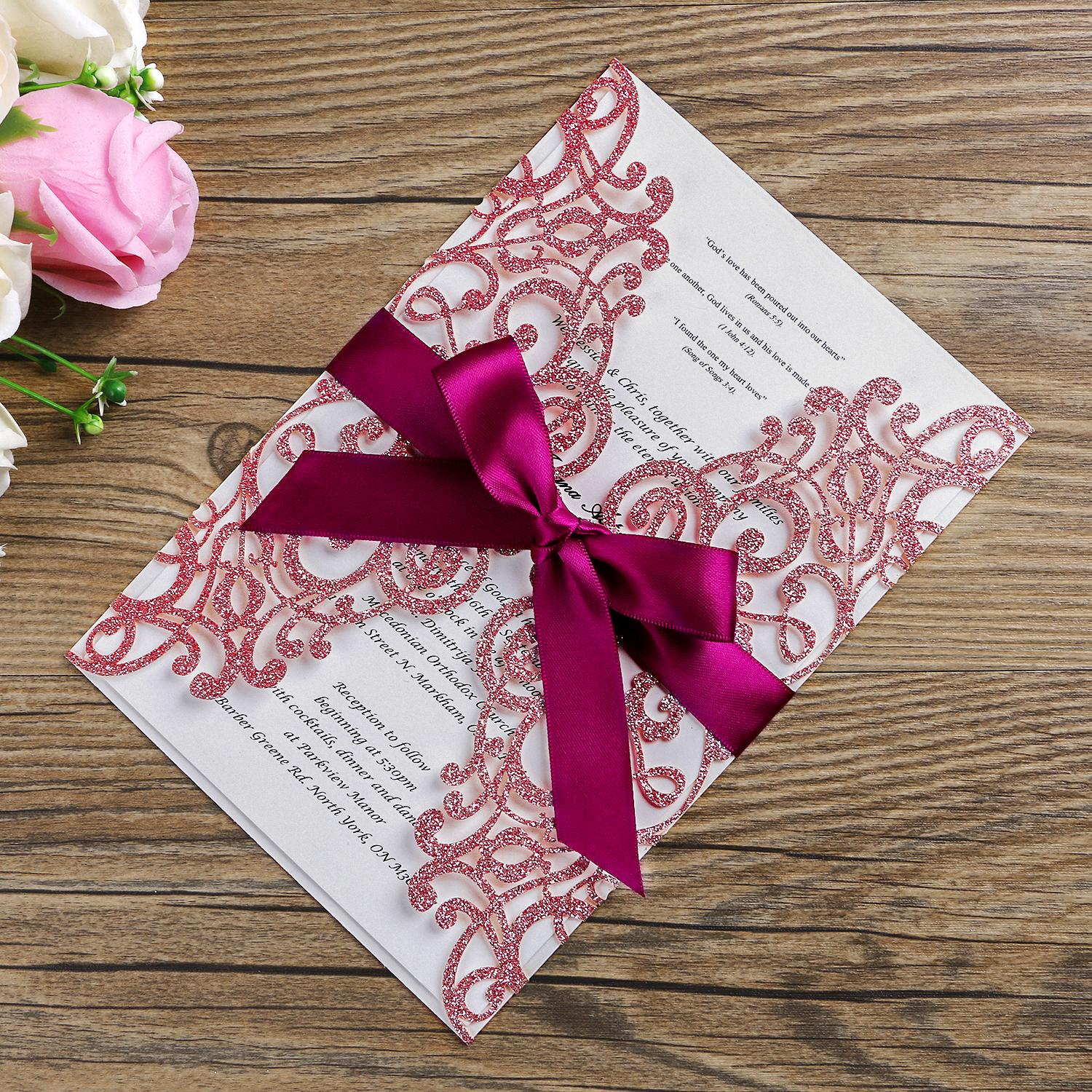 New 2019 Wedding Invitation Cards Apple Gold Solid Bow Laser Cutting Invitation Pocket Lace Elegant Ball Party Invitation Wholesale Ag016