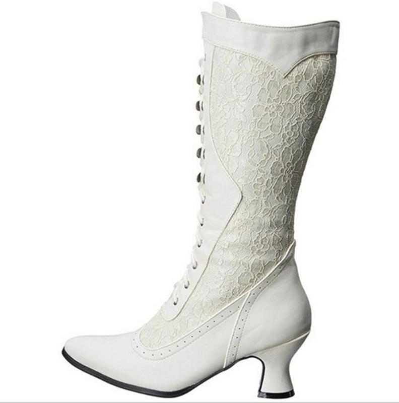 Women Boots Shoes Winter Knee-High Mesh Pointed Toe Med (3cm-5cm) Thick High Heels Zipper Solid Casual Female Boots Plus Size