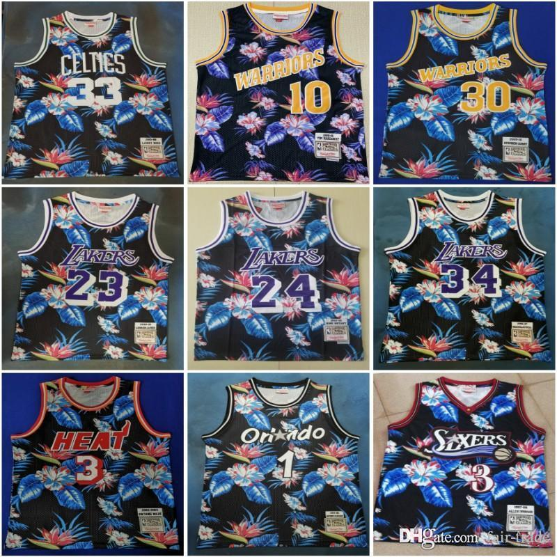 half off d659c 078fc LeBron 23 James 30 Curry Jersey 3 Iverson 34 O Neal Larry 33 Bird 1  Hardaway Floral Fashion 1985-86 Classics basketball Jersey