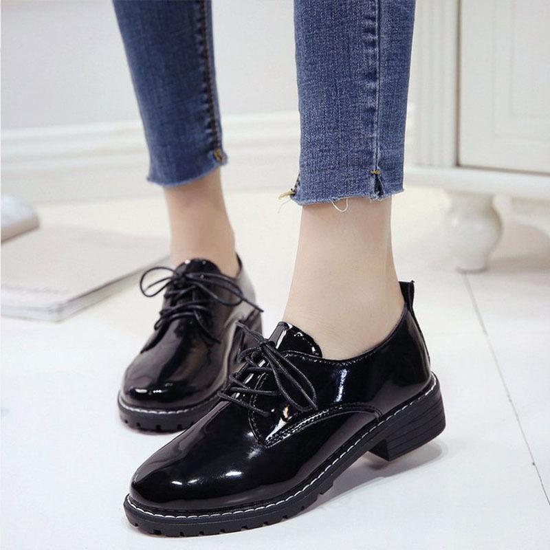 38d6f81f6f7 ... De Zapatos De Vestir Mocasines De Las Mujeres Con Cordones Colmillo De  La Primavera De Las Mujeres De Charol Nueva Sola Moda De Tacón Grueso Oxford  Para ...
