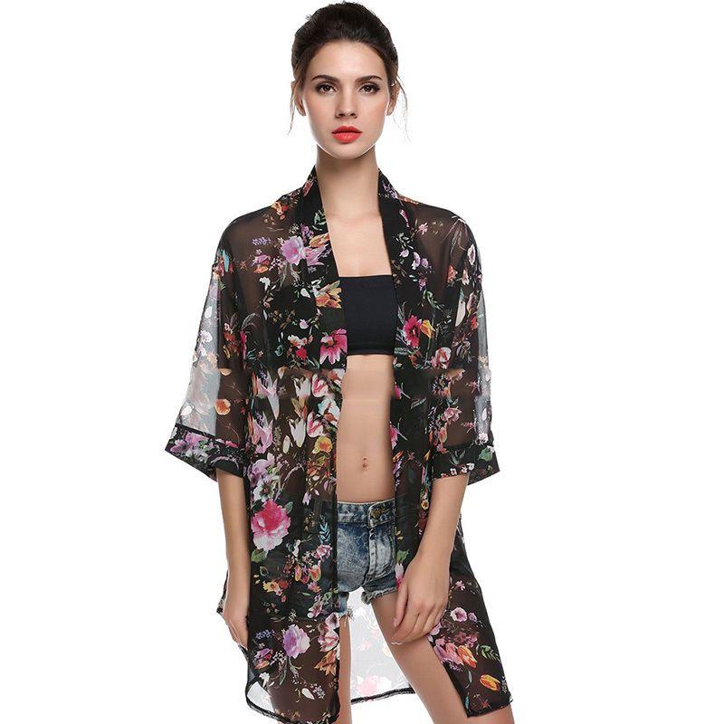 d280b3b8df800 Summer Boho Cardigan Women Shirt Floral Tops Blouses Casual Camisas  Femininas Beach Blusas Kimono Chiffon Cardigan Female Online with   31.33 Piece on ...