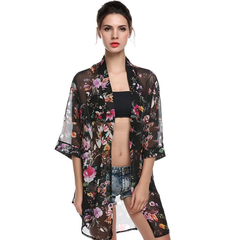 14817ca87e214 Compre Verano Boho Cardigan Camisa De Las Mujeres Tops Florales Blusas  Camisas Casuales Femininas Playa Blusas Kimono Chiffon Cardigan Mujer A   23.93 Del ...