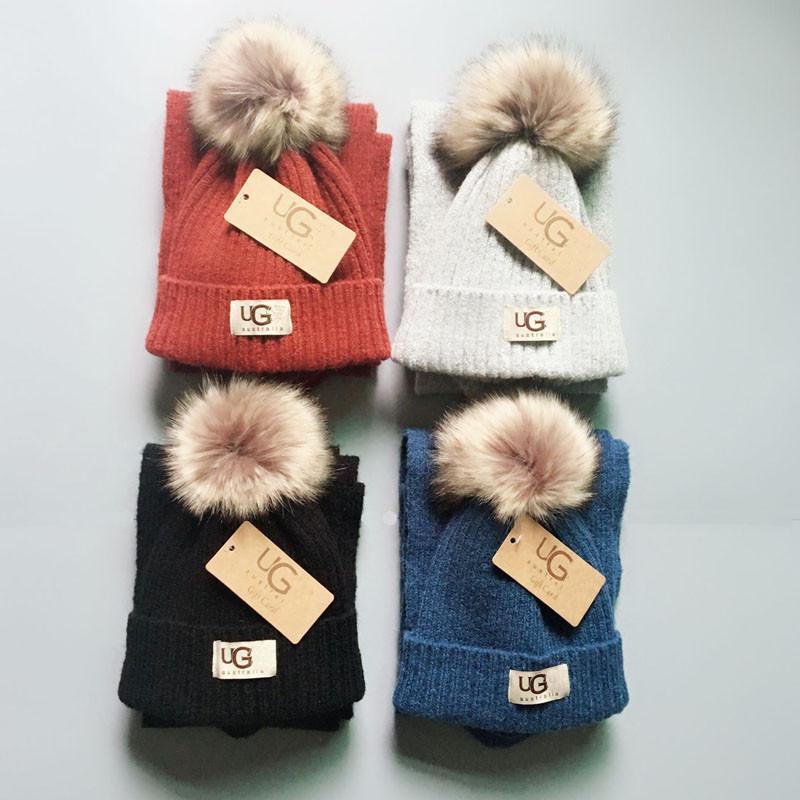 2019 Brand UG Kids Knit Scarf Fur Pom Hat Set Luxury Beanies Winter Warm  Crochet Scarves For Girls Boys Child Outdoor Ski Hat Sets Best From  Pinkaboo shops 2091bf33edd