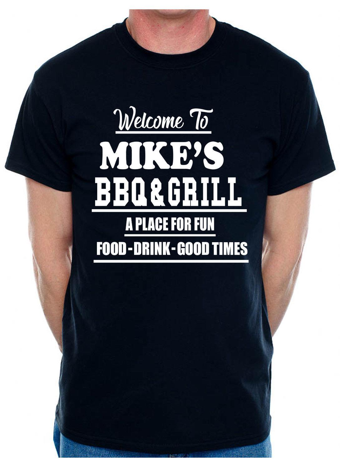 a4f15384cbee Personalised Adult T Shirt Mike S BBQ   Grill Your Surname Christian Name  Men Women Unisex Fashion Tshirt Funny T Shirt Sites Crazy T Shirt Sayings  From ...