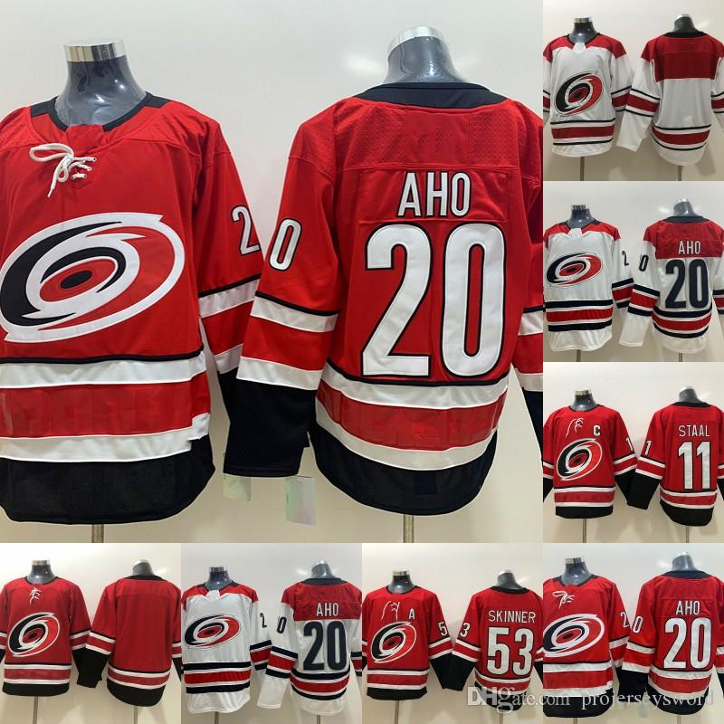 hot sale online 6ba2a f17c4 Mens 20 Sebastian Aho Carolina Hurricanes Jersey 53 Jeff Skinner 11 Staal  100% Stitched Blank Hockey Jerseys Cheap S-XXXL Fast Shipping