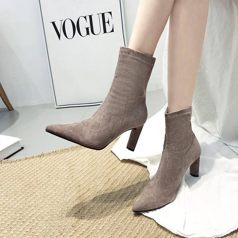 2114c8210a64 Autumn Winter New Design Short Boots Women Solid Color Stretch Sock Botines  Mujer 2018 High Heels Fashion Booties Ladies Shoes For Women Desert Boots  From ...
