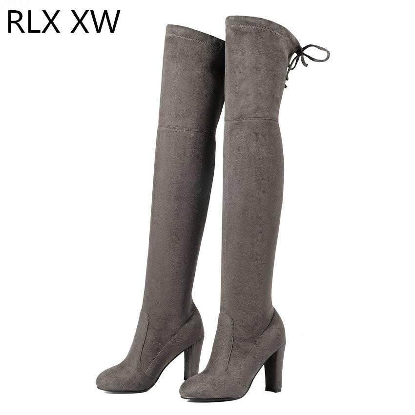 2019 Winter Warm Women Over The Knee Boots Keep Warm Short Pluch Fashion Sexy High Quality Motorcycle Boots Size 34-43