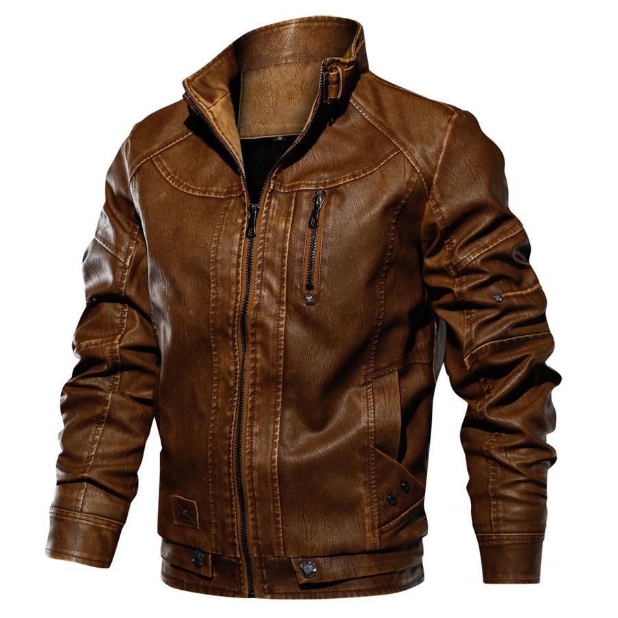 cff479be52 Cappotto in pelle da uomo in pelle con colletto in pelle da uomo, giacca in  pelle da uomo e cappotti Jaqueta De Couro