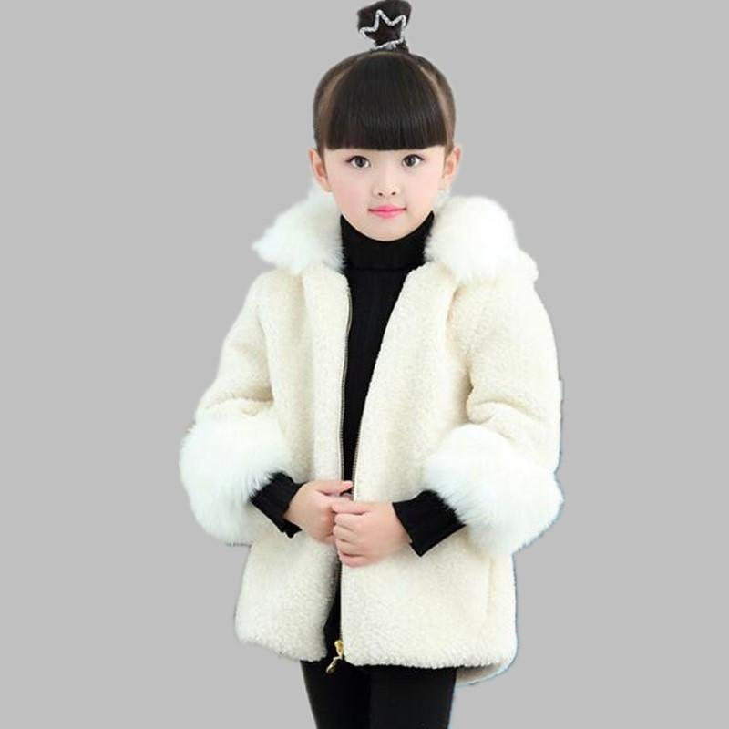 Girls Clothes 2019 Autumn Winter Faux  Fur Coat Kids Thicken Outerwear Children Warm Jacket Cotton Long Overcoat N231