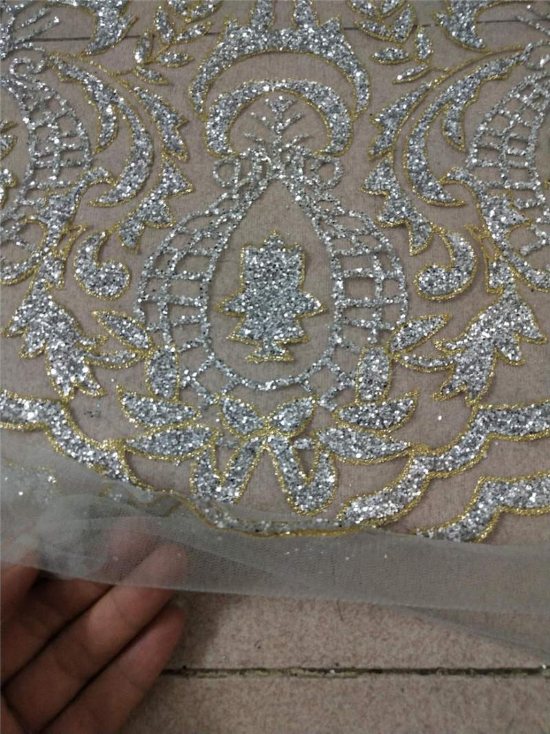 893eba6ff6 Good Looking Silver Glitter Gold Edge African Glued Glitter Lace JRB-12281  Embroidery Tulle Mesh Lace Fabric for Sexy Dress Online with  155.62 Yard  on ...