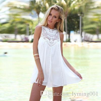 Summer Dress Sexy Women Casual Sleeveless Beach Short Dress Tassel Solid  Mini Lace Vest Dress Plus Size Clothing S 2XL Evening Dresses For Party  Cocktail ... 90068bf1cb60