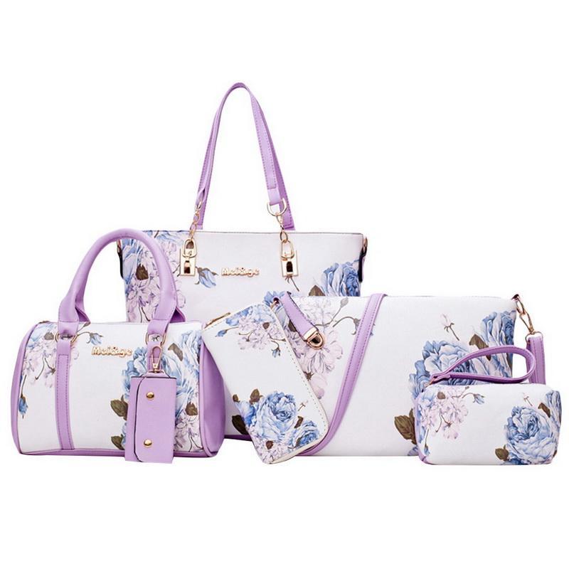 975c9e9233d3 HEFLASHOR 5pcs/Set Fashion Women handbags prints PU Leather Composite Bag  Clutch Set Large Shoulder Bag purseTote female