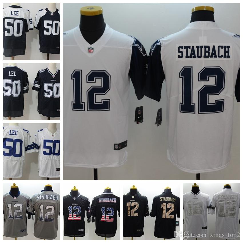 best website c9c25 1f887 2019 New Mens 12 Roger Staubach Dallas Jersey Cowboys Football Jersey 100%  Stitched Embroidery 50 Sean Lee Color Rush Football Shirts