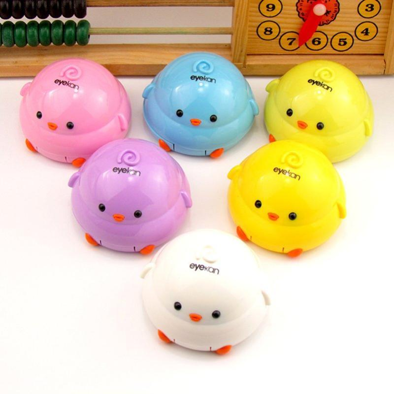 1PC Cartoon Design Portable Cute Chicken Contact Lens Case Mini Contact Lenses Box Container Holder With Mirror Random Color
