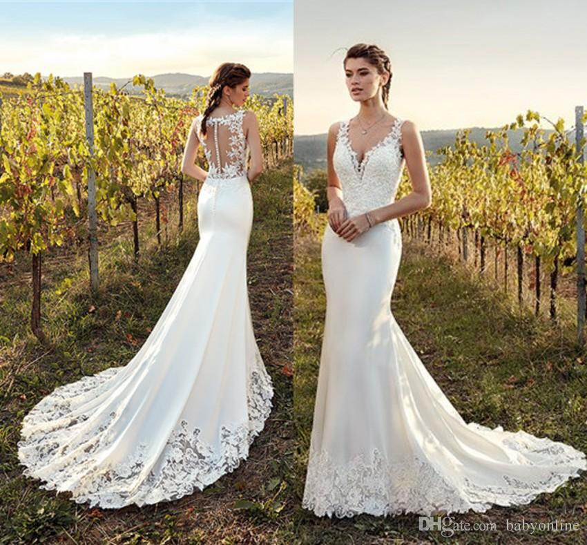 Eddy K 2019 New Summer Garden Wedding Dresses Mermaid V