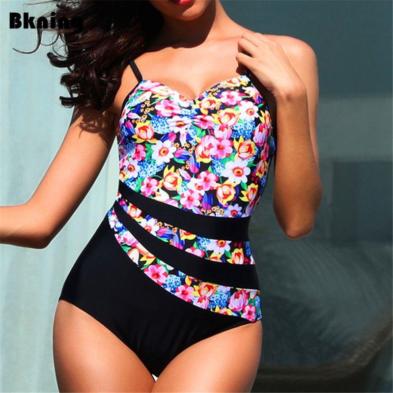 ce8dc1068e5 2019 Bknin Pink Floral Print Swimsuit Large Size Swimwear One Piece ...