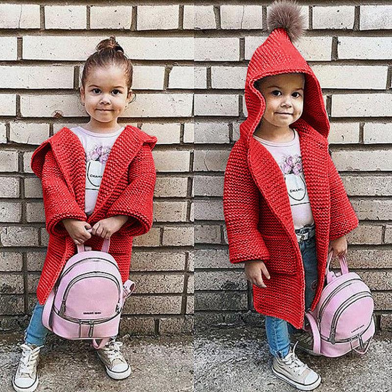 Kids Hooded Cardigan Baby Girls Long Sleeve Loose Sweater Coat