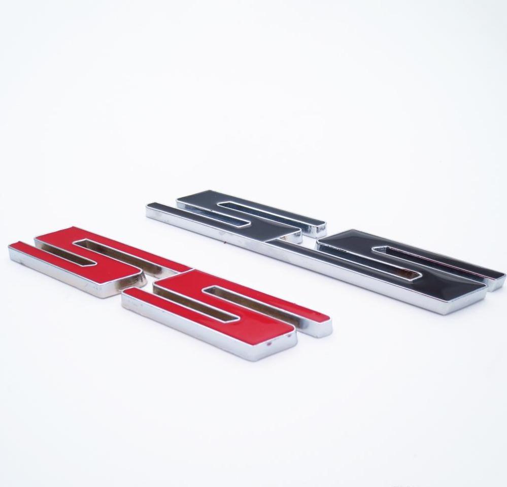 1 Stück 3d Metall Auto Aufkleber Ss Brief Emblem Abzeichen Styling Aufkleber Auto Dekoration Zubehör Rot Schwarz Weiß Farbe