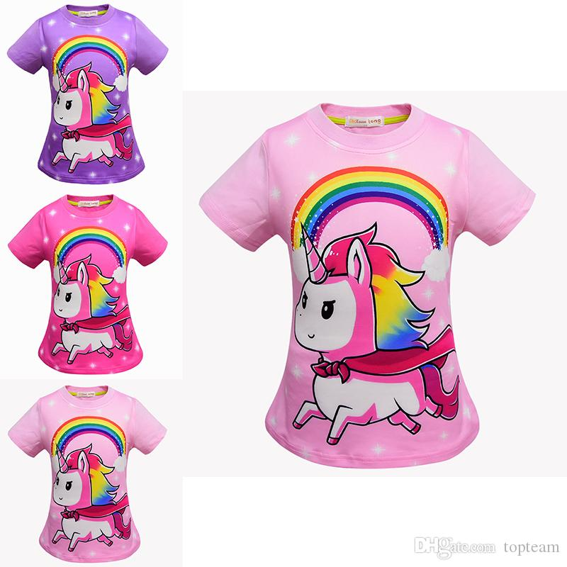 Baby Girls Unicorn Print T Shirts Summer Shirt Tops Cotton Children Tees Kids Clothing DHL TC181127w Elegant Birthday Party Favors From