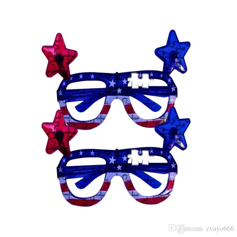432cd93a0ee 2019 18.5 10 12.8cm American Flag Five Pointed Star Led Light Flashing  Glasses Luminous Fluorescent Dance Halloween Props From Zvayo666