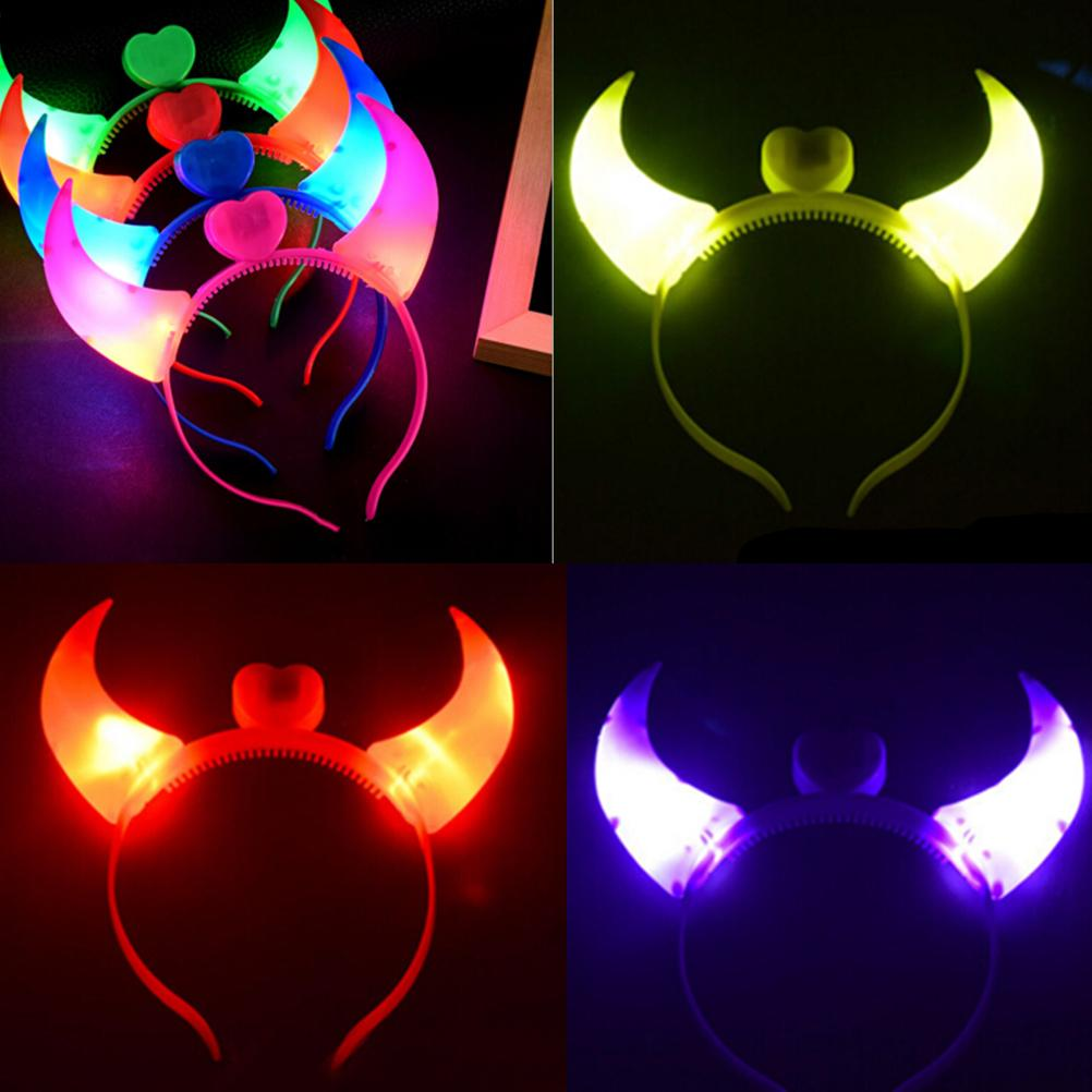 Halloween Costumes Devil Horns LED Flash Light Colorful Baby Hair Hoops Headwear Head Band Party Supplies VT0107