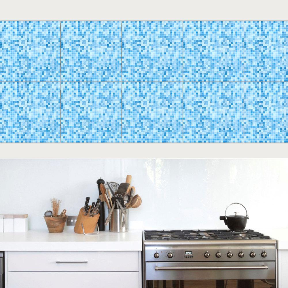 Grosshandel 10 Teile Satz Nachahmung Blau Mosaik Marmor Pvc