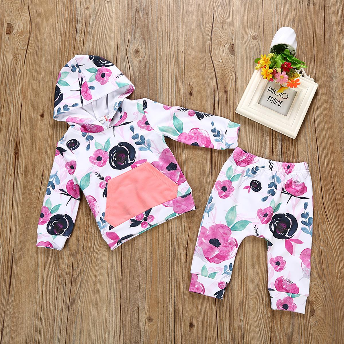 2ST Kleinkind Neugeborenes Baby-Kleidung eines reizendes Baby Baby mit Kapuze T-Shirt Tops + Long Pants Outfits Kleidung
