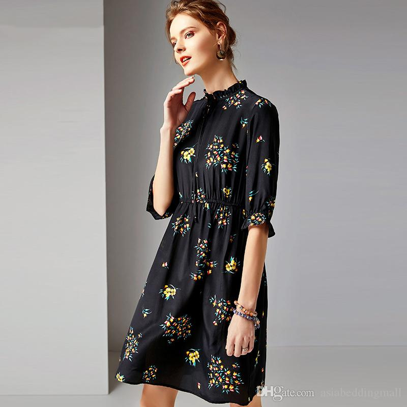 2019 100% Real Silk A-line Floral Printing Dress Stand Collar Half Sleeve Ruffles High Elastic Waist Dresses
