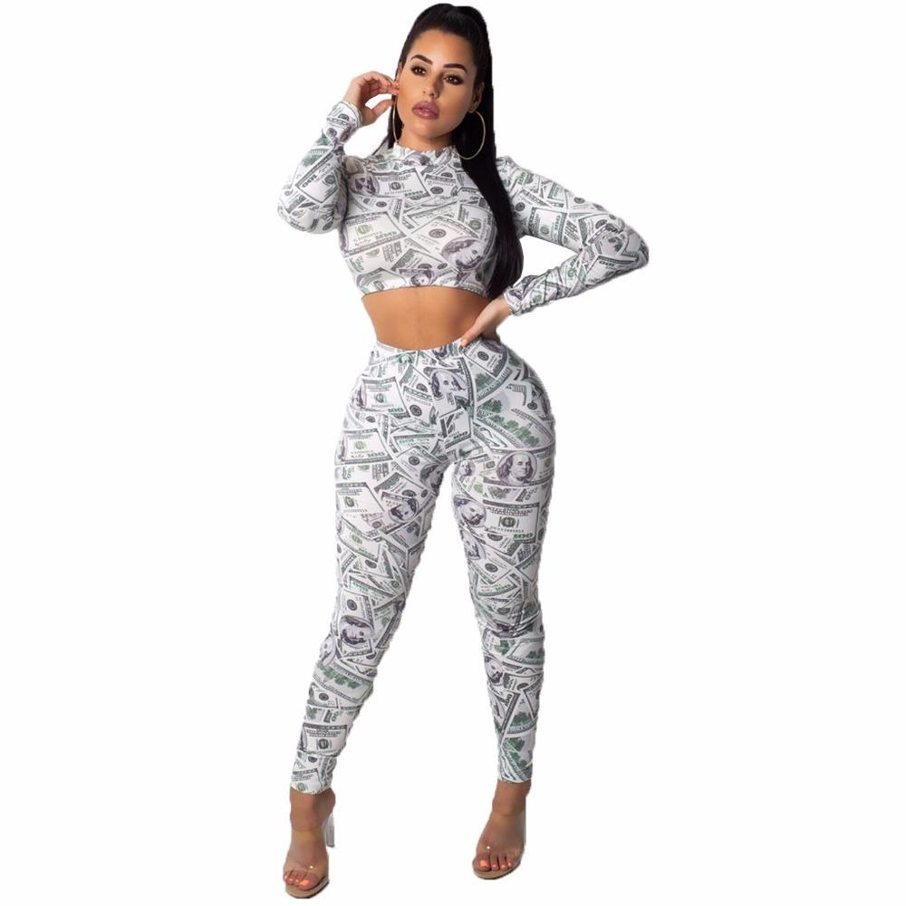 ecfd8224ef 2019 Dollar Print Set Sexy Long Sleeve O Neck Crop Top With Pants Bodycon  Women Set Casual Suit Female Slim Outfits Tracksuit Y19042901 From Daiki,  ...