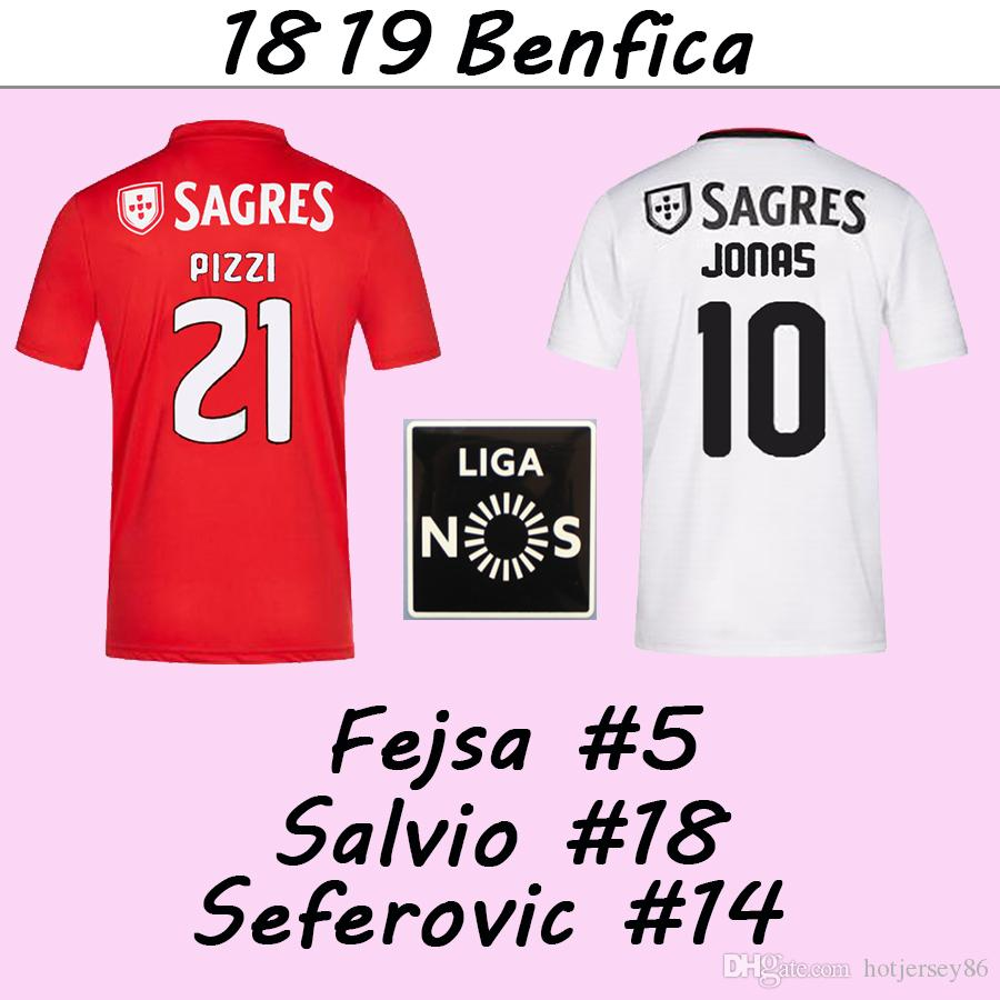 buy popular 563d9 b68ee 18 19 Benfica SALVIO PIZZI GABRIEL Men Soccer Jerseys JONAS SEFEROVIC Home  Red Away White Football Shirts JARDEL camisa de futebol Uniforms