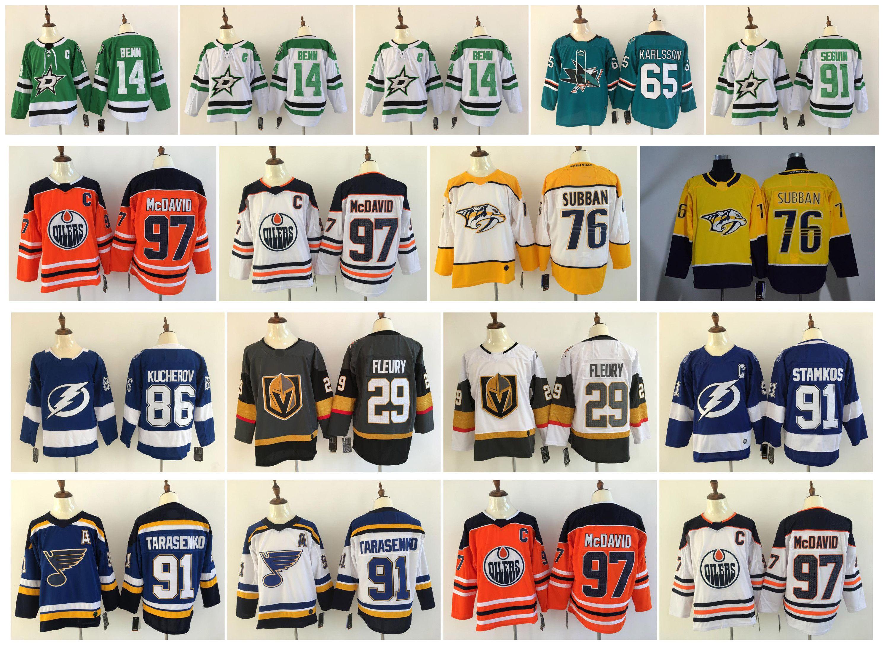 newest 1b5f6 58b2d NHL Hockey Jersey 97 Connor McDavid 29 Marc-Andre Fleury Tyler Seguin  Vladimir Tarasenko 91 Steven Stamkos 86 Nikita Kucherov 88 Brent Burns