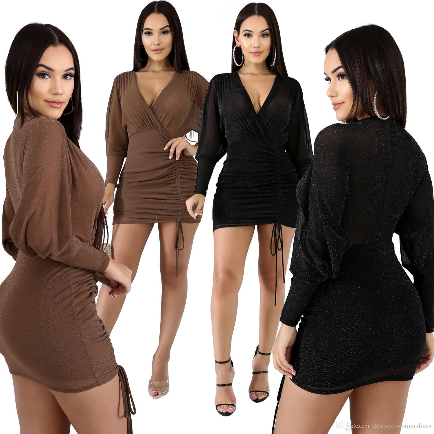 Women Designer Party Dresses Perspective Autumn Club Sexy Slim Long Sleeved Dark V-Neck Drawstring Bodycon Dresses Fashion Women Dresses