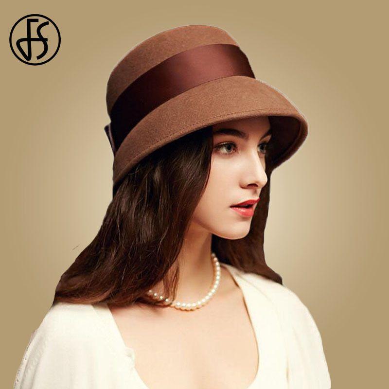 f09739de2bce FS 2018 Autumn Winter 100% Wool Cloche Hats Women Wide Brim Vintage Brown  Fedora Hats Black Elegant Bowknot Felt Sombreros Mujer D19011102