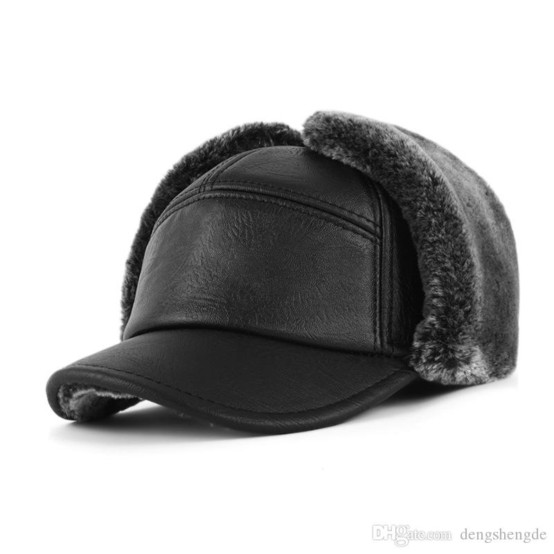 593d876556e 2018 Men S Leather Bomber Hat With Ears Bonnet Enfant Dad Russian Winter Hat  Bone Cap Real Fur Hat MH012 Custom Hat Caps For Men From Dengshengde