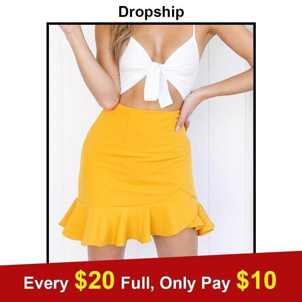 753924655b Compre 2018 Verano Negro Rojo Moda Para Mujer Faldas De Cintura Alta Mini  Plisado Vintage Ladies Solid Ruffle Hem Skater Falda Para Las Mujeres A   19.46 Del ...