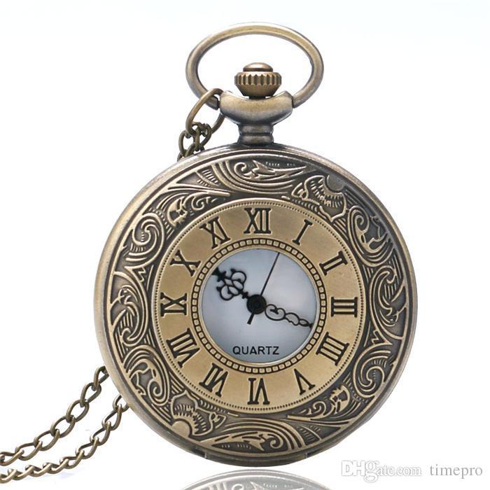 b9afd4a2df08 Compre Bronce Retro Cuarzo Reloj De Bolsillo Diseño Hueco Número Romano  Cara Dial Vintage Collar Regalo Para Hombres Mujeres Colgante A  3.05 Del  Timepro ...