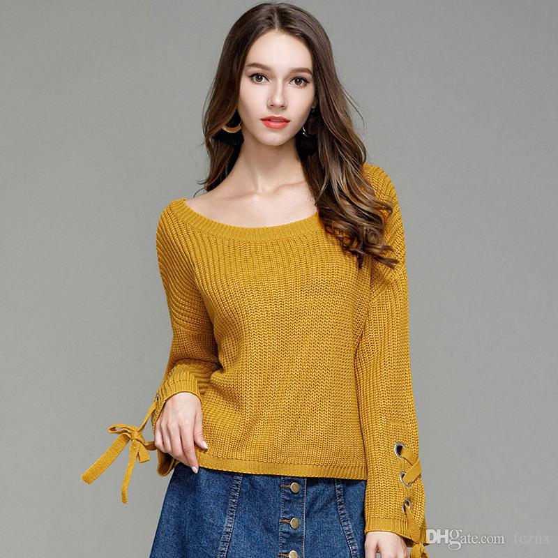 29b765478e90 2019 2019 Women Clothing Long Sleeve Lace Up Solid Relaxed Sweater ...